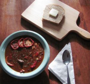 Venison Chili and homemade bread
