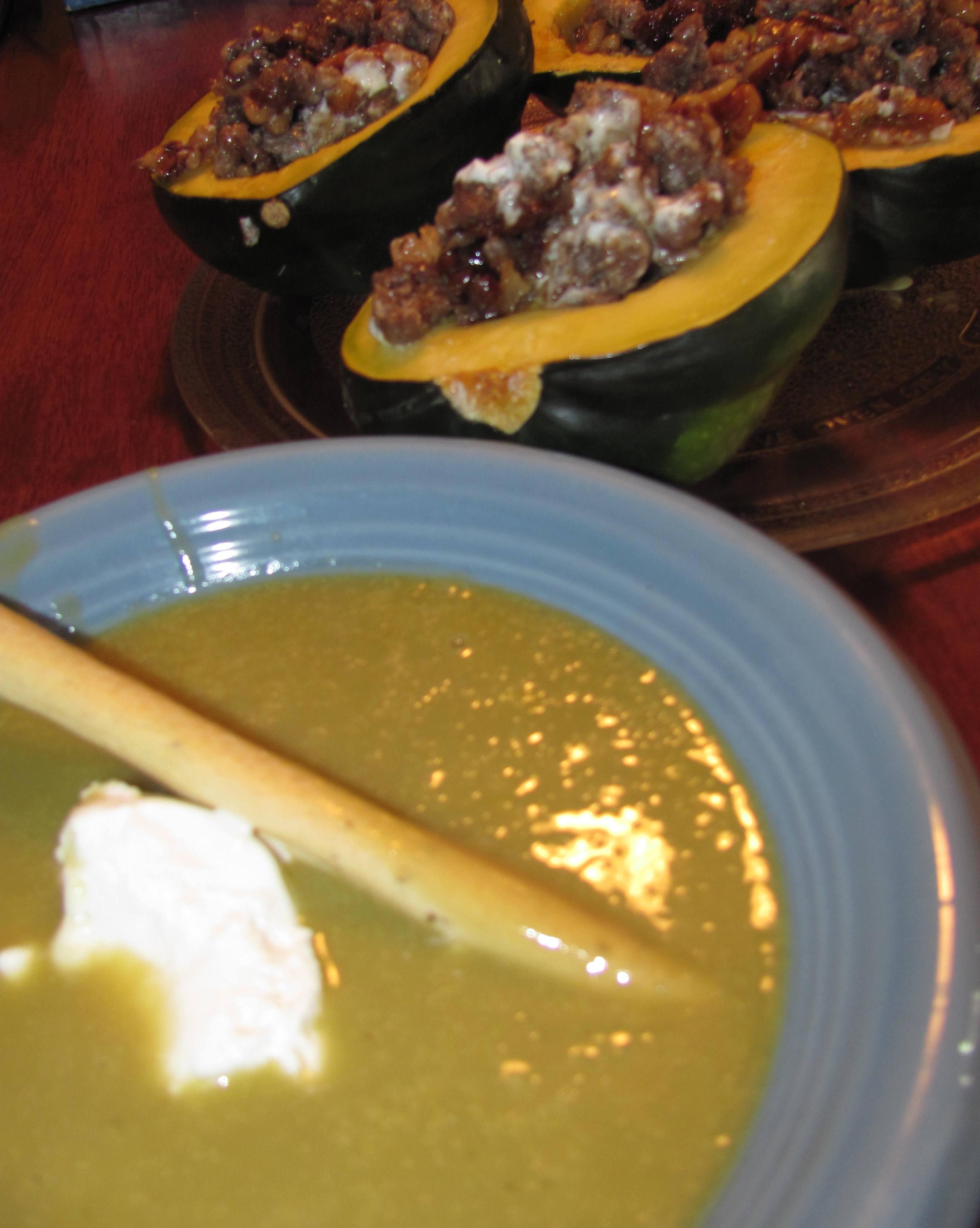 Cheesy Broccoli Soup and Stuffed Acorn Squash