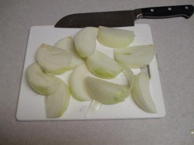 roughly chop onions