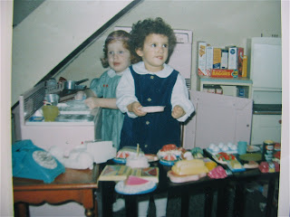 "The author as a little girl in her ""pantry"""