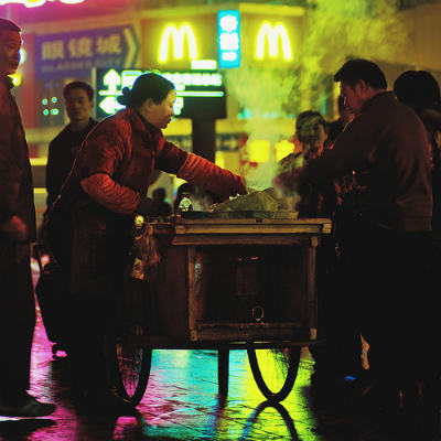 A Food Cart in front of McDonalds, China