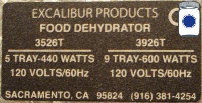 Excalibur dehydrator data plate