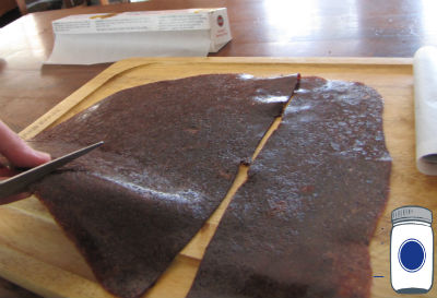 Cutting Fruit Leather on Cutting Board