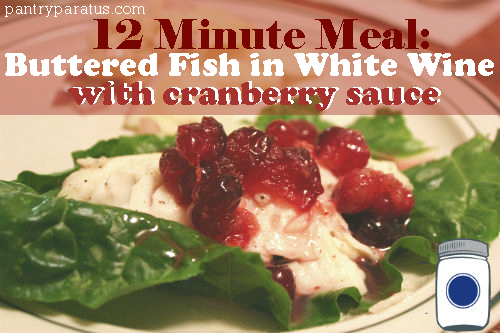 Buttered Fish in White Wine with Cranberry Sauce