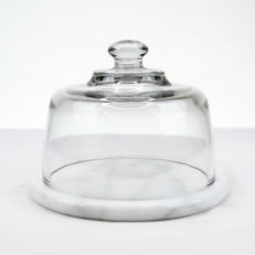 Glass Cheese Dome with Marble Base