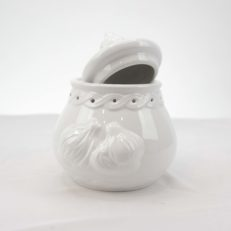 White Ceramic Garlic Pot