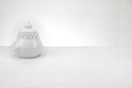White Ceramic Garlic Pot