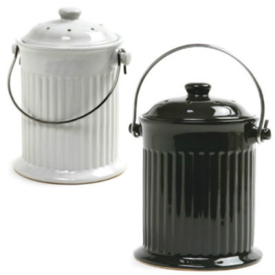 Black and White Compost Keepers, 1 Gallon Ceramic
