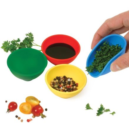 mini pinch bowls with sauce and spices