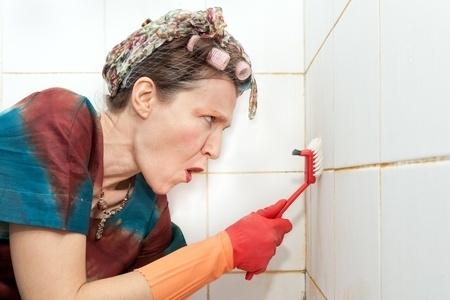 scrubbing bathroom