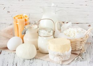 Fresh farm dairy products: cheese, butter, eggs, milk and yogurt