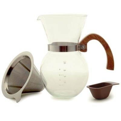 pour over coffee maker with stainless steel filter and bamboo handle