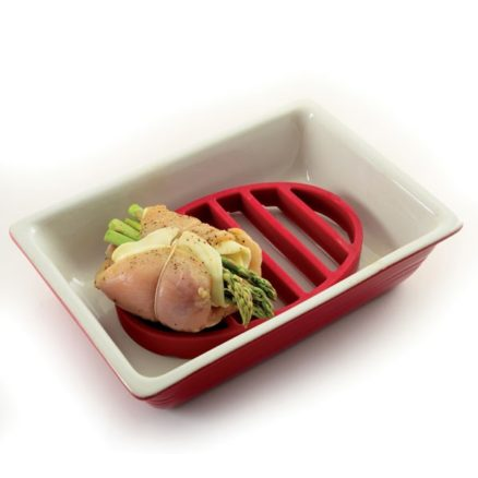 roast rack in dish with chicken