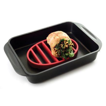 roast rack in metal pan with food