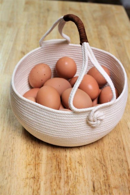 harvest basket with eggs
